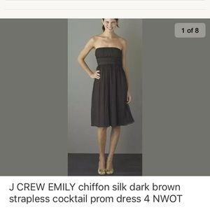 J CREW EMILY silk strapless chiffon prom dress 4
